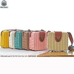 Hand Made Bags Style Australia - Summer bolso mimbre Candy Color Shoulder Bag Hand Made Exquisiteness Straw Bags Mini Woven Flap Sweet Pastoral Style Rattan Bag