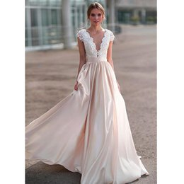 $enCountryForm.capitalKeyWord Australia - Fashion Lace Wedding Dresses with Applique 2019 New Design Illusion in Back Bride Dress Long Train White   Lvory Plus Size