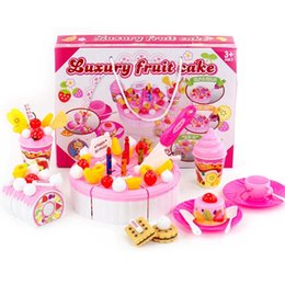 pink toy kitchen NZ - Girl Cake Toy Simulation Cut Cake Kitchen Toy Set game Cut Fruit Cake Birthday Pretend Play Toys Pink Blue Gift for Children