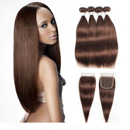 chocolate hair extensions Australia - #4 Chocolate Brown Human Hair Bundles With Closure Brazilian Straight Hair 3 4 Bundles with 4*4 Lace Closure Remy Human Hair extensions