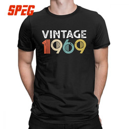 a266d09f Men's Vintage 1969 50th Birthday T-Shirts 50 Years old Fun Crewneck Short  Sleeves Tops Pure Cotton Tee Shirt Plus Size T Shirts