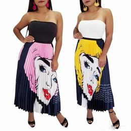 b9e153803 new Women designer pleated Skirts Midi Dress Sexy Ball Gown Casual summer  skirt plus size S-2XL Cartoon portraits Print Long Skirt
