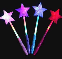 wholesale glow toys for kids NZ - Glowing Toy Stick Pentagram Hollow Star Magic Wand Concert LED Flashing Love Stick For Concert Dancing Music Party Gift Kids Night Toys CY55