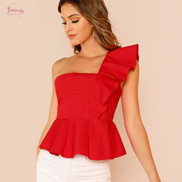 Wholesale red sleeveless blouse for sale - Group buy Top Puff Sleeve Trim One Shoulder Peplum Ruffle Female Red Summer Blouse Women Shirts Slim Fit Womens Tops And Blouses
