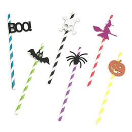 $enCountryForm.capitalKeyWord Australia - Halloween Party 10Pcs Skull Bat Spider Disposable Paper Drinking Straw Decor