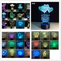 Valentine Heart Lights Australia - Creativity 3D USB Night Lamp LED Changing Colorful Love Heart 3D Stereo Touch Lights Valentines Day Gift Bedroom Nightlight Table LED Lamp