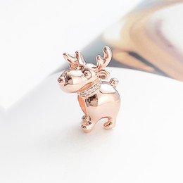 reindeer charms Australia - NEW 925 Sterling Silver Rose gold Christmas Reindeer Charm Bead Fit Original Pandora Bracelets Jewelry DIY Necklaces Pendant