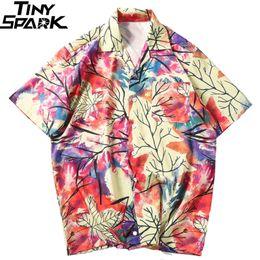 Colorful Mens Casual Shirts Australia - WY 2019 Hip Hop Shirts Streetwear Mens Hawaiian Shirt Colorful Painting Leaf Harajuku Summer Beach Shirt Tops Short Sleeve Hipster