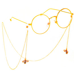 d3df510275e Rhinestone Bee Pendant Chain Gold Eyeglass Chains Reading Glasses Metal  Cords Sunglasses Spectacles Holders Optical Frames Rope