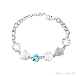 swarovski bracelet wholesale Canada - Flower Shape Bracelet For Wowmen Top Quality Trendy Bijouterie Made with Swarovski Elements Crystal Best Jewelery Bijoux Gift