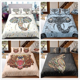 twins for sale UK - Soft Hot Sale Bedding Set with Animals Elephants Bears Wolves Twin Full Queen Size Duvet Cover Set for Kids Bedclothes