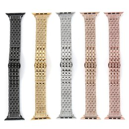 rhinestone bands for watch UK - Luxury Rhinestone Diamond Strap for apple watch 44mm 42mm 40mm 38mm Stainless Steel Metal Watch Band For iWatch series 1 2 3 4
