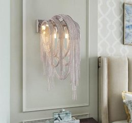 $enCountryForm.capitalKeyWord Australia - Post-modern Fringed Aluminum Chain Led Wall Light Living Room Restaurant Aisle Club Lights Bedroom Bedside Wall Lamp MYY
