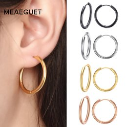 d12432f6f Hoop Earrings Meaeguet Trendy Silver Rose Gold Black Tone Stainless Steel  Hoop Earrings Round Loop Earring For Women 25 20mm 11mm