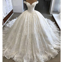 vintage wedding dresses puffy sleeves Canada - Vestido de Noiva Gorgeous Wedding Dresses 2019 Puffy Cap Sleeve Ball Gown Arabic Lace church train Bridal Wedding Gown Vintage