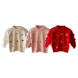 b720b6f66 Children Autumn O-Neck Knitted Tops Baby Girls Cartoon Print Lace Cotton Pullover  Sweater Outerwear Girl Elastic Coat Clothes