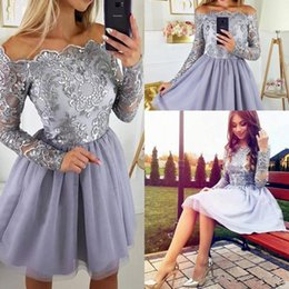 $enCountryForm.capitalKeyWord Australia - Vintage Long Sleeves Lilac Lavender Short Party Dresses Appliques Tulle Skirt Knee Length Prom Cocktail Gowns For Teens