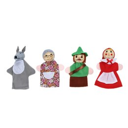 PuPPet stories online shopping - uppet fairy tale set Little Red Riding Hood Finger Puppets Fairy Tale Story Wooden Headed Puppets Baby Educational Toys Kid Pretend