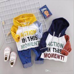 Fall Tutu Australia - Toddler Sportswear Fall Baby Clothing Sets Kids Boys Girls Fashion Apparel Kids Hooded T-Shirts & Pants 2 Sets