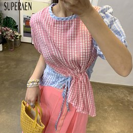 $enCountryForm.capitalKeyWord Australia - SuperAen Korean Style Plaid Stitching Women Shirt Cotton Wild Casual Fashion Blouses and Tops Female Drawstring Summer New 2019