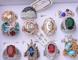 Zircon Rings Prices Australia - wholesale 10pcs lots low price high quality 925 silver diamond crystal zircon lady's ring random mix size*style 3.7ycv