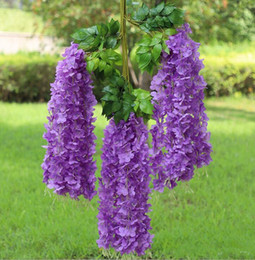 wedding center piece decorations Australia - 2019 Wedding Bouquet Wisteria wine Elegant Artificial Silk Flower Wisteria Vine Rattan For Bridal Center pieces Decorations Bouquet Garland