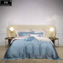 Blue Queen Sheet Set NZ - 120S Egyptian Cotton Blue Beige Luxury Bedding Set 4Pcs King Queen Bed Sheet Duvet cover Pillow shams Simple Bright Lively