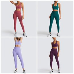 plus size yoga pants wholesale UK - Casual Yoga Gym Set Pure Color Knits Bra Vest Top Tights Trousers 2pcs Outfits Women Sports Tracksuits Clothes S-L 45ns E19
