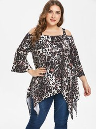 ac0a1dbec4f14 Wipalo Plus Size Leopard Print Cold Shoulder T-Shirt Three Quarter Sleeve  Fashion Long Shirt Women Clothes Ladies Tops Tees
