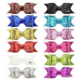 kid hair clips for sale UK - Childrens Hair Accessories American Style Kids Best Sale 12 Colors Fashion Sweet Sequined Bow Princess Hair Clips For Party