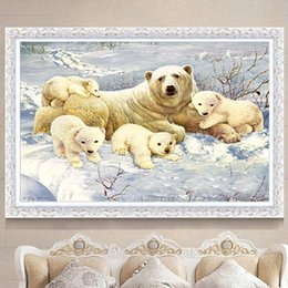 $enCountryForm.capitalKeyWord Australia - Polar bear mother and child 5D diamond painting embroidery snow full diamond cross stitch mosaic animal living room bedroom decoration