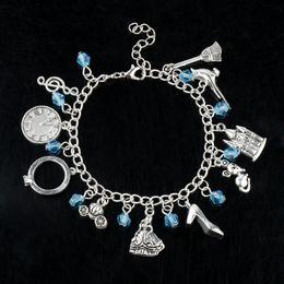 $enCountryForm.capitalKeyWord Australia - Fairy Tail Cinderella Chain Crystal Bangle Bracelets Alice In Wonderland Shoes Castle Fish Motorcycle Bangle A Bracelet Cartoon DIY Bracelet