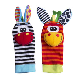 feet soft toys UK - 2019 New Baby Infant Soft Rattles Handbells Hand Foot Finders Socks Cartoon Developmental Toy Cute Lovely