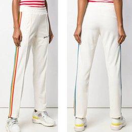Brand trouser for women online shopping - Luxury Men Trouser Fashion Rainbow Ribbon Pants for Men Women Designer Long Pants Casual Brand PALM ANGELS Sweatpants with Drawstring