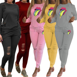 Wholesale hot women out t shirt online – design Women ripped sweatsuit mouth print two piece set designer fall winter clothing long sleeve t shirt hollow out slim leggings hot selling