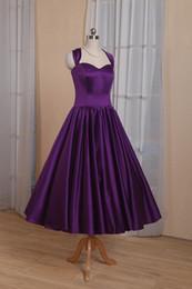 Elegant Purple a Line Prom Dresses con Halter Bow Torna Lace Up Tea Lunghezza abito da sera formale partito REal Photoes in Offerta