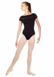 childrens ballet UK - ICOSTUMES Childrens Lace Short Sleeve Ballet Dance Leotards For Kids Nylon Black Gymnastics Leotard For Girls Competition