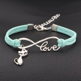 $enCountryForm.capitalKeyWord Australia - Punk Light Green Leather Suede Adjustable Bracelets Vintage Infinity Love Quiet Cat Animal Hand Wristband Charm Rope Braid Women Men Jewelry