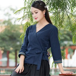 Wholesale 2018 Spring Summer New Style Blouse Women Hand Hanfu Embroidery Short Style Traditional Chinese Tang Suit Tops