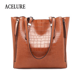 khaki cross body bags women UK - Acelure Women Alligator Pu Leather Crossbody Bags Solid Color Female Lager Casual Totes Fashion Ladies Daily Shoulder Bags Y190620