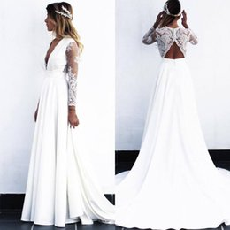 $enCountryForm.capitalKeyWord Australia - 2019 Bohemia Lace Wedding Dresses Sexy Plunging V Neck Long Sleeves A Line Beach Bridal Gowns Open Back Chiffon Cheap Wedding Gowns