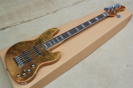 Fingerboard Australia - Wholesale Direct Brown 5-string Electric Bass Guitar with Rosewood Fingerboard,Chrome Hardwares,2 Pickups,can be customized.