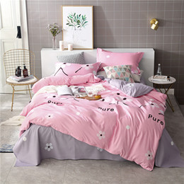 Discount pink purple girls bedding - Pink flower 3 4pcs Bedding Sets Girls Kid Bed Cover Set Cartoon Duvet Cover Adult Childs Bed Sheets Pillowcases Comforte