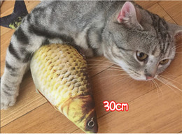 $enCountryForm.capitalKeyWord Australia - 30cm Cat Favor Fish Dog Toys Plush Stuffed 3D Fish Shape Cats Toy Fish Catnip Scratch Board For Cat toys interactive Pet Product