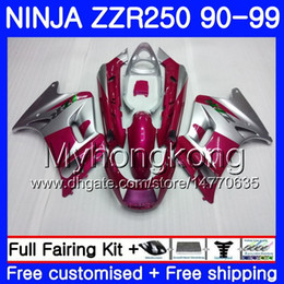 1993 kawasaki fairing online shopping - Bodywork For KAWASAKI NINJA ZZR ZZR250 HM ZZR250R ZZR Red silvery hot Fairings