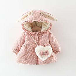 Cartoon hoodies ears online shopping - Girls Winter Jackets cotton Coats Cartoon Keeping Warm Down Coat Polka Dot Printed Rabbit Ears Hoodies Button Outerwear Designs M443