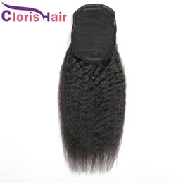 Discount hair colors women Coarse Yaki 100% Human Hair Ponytail Extensions Clips In Malaysian Virgin Kinky Straight Bun Drawstring Ponytail For Wom