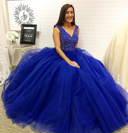 Crystal Gown Year Girl Australia - 2019 New Elegant V Neck Crystals Quinceanera Dresses Royal Blue Layers Tulle Prom Ball Gown Girls 15 Years Dress