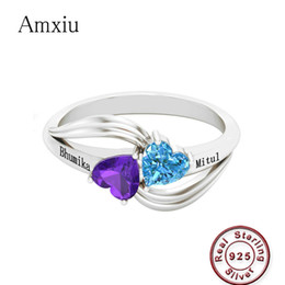 $enCountryForm.capitalKeyWord Australia - Amxiu Personalized Gift Birthstone Engraved Name Rings For Women Promise Love Heart Ring 925 Sterling Silver Anniversary Jewelry