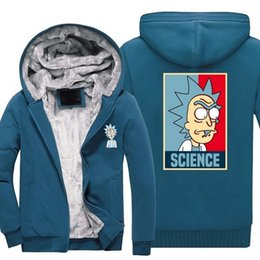 Thick Cotton Material NZ - wholesale Winter Casual Thickened Hoodie brand Coats Comic Rick and Morty Cashmere Keep warm Hooded Thick Zipper cotton material Sweatshirts